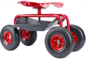 G GOOD GAIN Garden Cart with Seat and Wheels Rolling Garden Stool